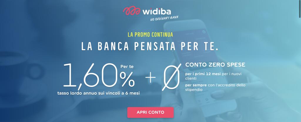 Anteprima dell'offerta Widiba sul sito | Conto corrente Widiba