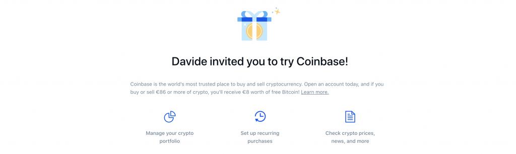 Anteprima della promo Coinbase | Coinbasa carta crypto