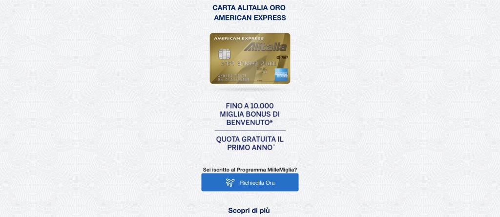 Anteprima del sito della Carta Alitalia Oro American Express