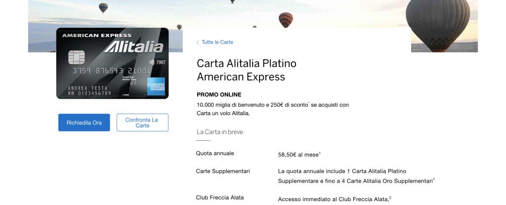 Anteprima del sito della carta Alitalia Platino American Express