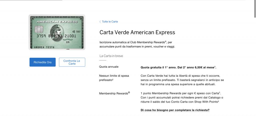 Anteprima del sito della carta Verde American Express