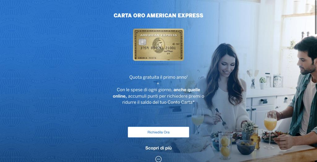 Anteprima del sito della carta Oro dell'American Express